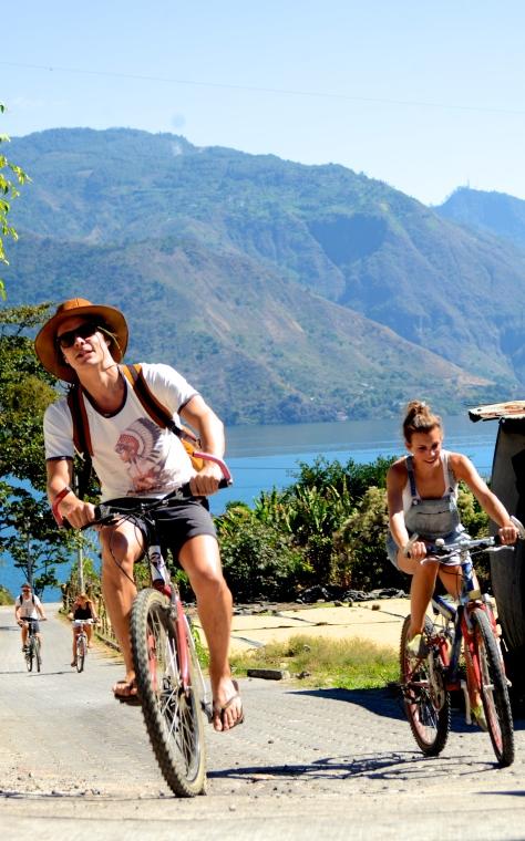 Biking around Lake Atitlán