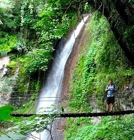 Waterfall & suspension bridge